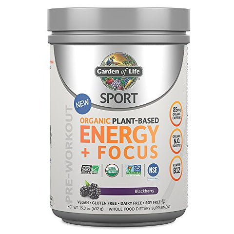 Garden Of Life Sport Organic Plant Based Energy + Focus Pre Workout Powder, Black Berry Flavor   Clea
