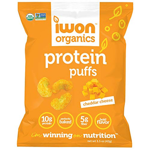 IWON Organics Cheddar Cheese Flavor Protein Puff, High Protein and Organic Healthy Snacks, 8 Bags