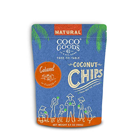 CocoGoodsCo Vietnam Single-Origin Natural Toasted Coconut Chips, Caramel (Pack of 2)
