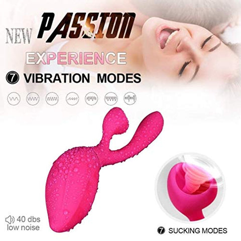 AIWOT-ZDQ Mini Pssey Licker Toy for Women 7 Frequencies Strong Suck Clitrial Stimulatin Toys for Her Pleasure 2 in 1 Toys