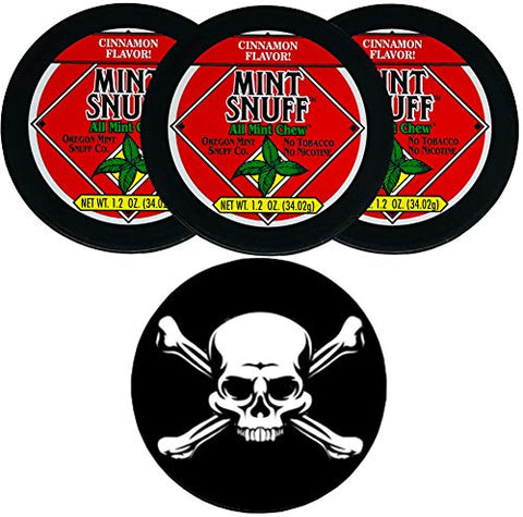 Oregon Mint Snuff Cinnamon 3 Cans with DC Crafts Nation Skin Can Cover - Jolly Roger