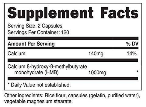 Nutricost HMB (Beta-Hydroxy Beta-Methylbutyrate) 1000mg (240 Capsules) - 500mg Per Capsule, 120 Servings - Gluten Free and Non-GMO