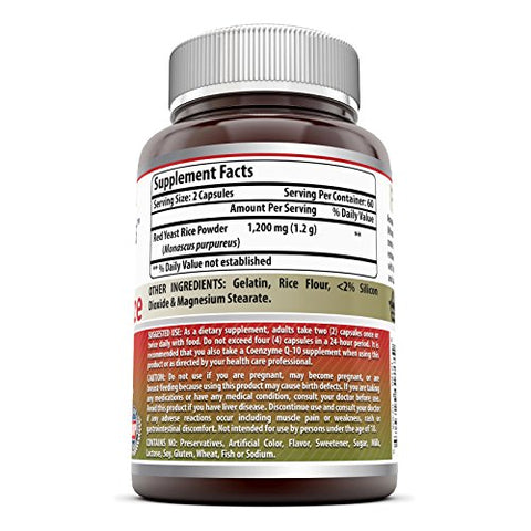 Amazing Nutrition Red Yeast Rice Dietary Supplement - 1200mg of Best Quality Red Yeast Rice Powder Per Serving - Supports Cardiovascular Health- 120 Capsules Per Bottle