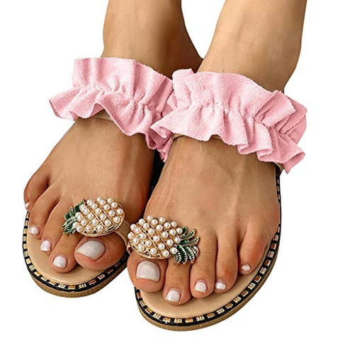 Women Flat Sandals Bohemian Style Slip-On Pearl Casual Slippers Beach Shoes