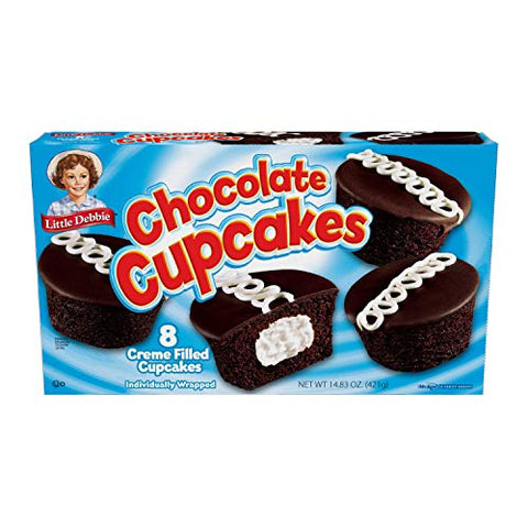 Little Debbie Chocolate Cupcakes, 1 Box, 8 Individually Wrapped Cupcakes (04416)
