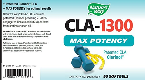 Nature's Way CLA-1300 Max Potency Patented CLA Clarinol, 90 Softgels
