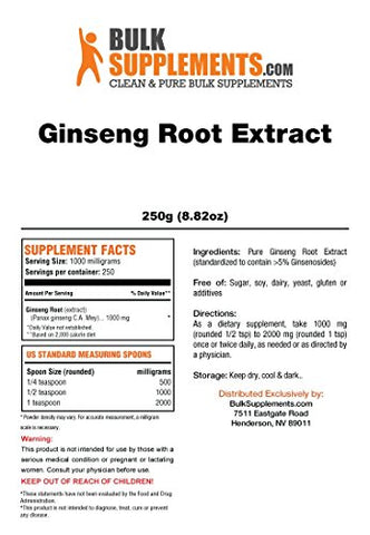 Bulksupplements Ginseng Root Extract Powder (250 Grams)