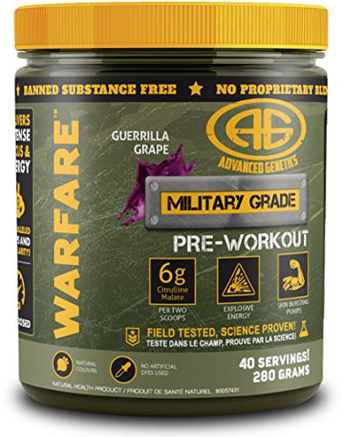 Advanced Genetics Warfare - Pre-Workout Powder - Citrulline Malate, Caffeine, Synephrine, Dendrobium, Guerrilla Grape - 40 Servings - 280 Grams