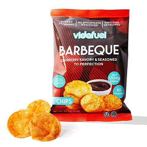 VidaFuel Healthy Snack Chips, Kidney Friendly, Heart Healthy, Dietitian Developed, Low Calorie, Low Fat, Low Sodium, Barbeque Flavor, 0.7 Ounce Bag, Pack of 24
