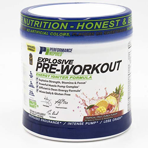 Performance Inspired Nutrition Explosive Pre-Workout, Tropical Fruit Punch, 1.49 Lb - Style #: Prepun