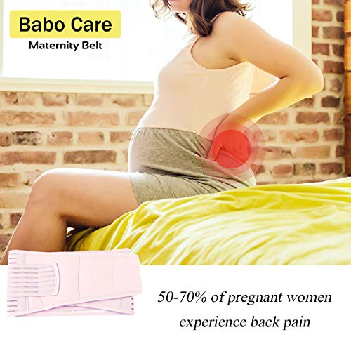 Maternity Belt by Babo Care, Belly Band for Pregnancy - Back and Pelvic Support - Prenatal Cradle for Baby, Pink Color