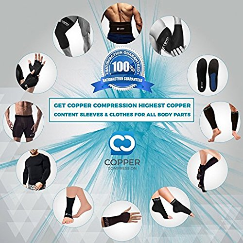 Copper Compression Recovery Elbow Sleeve   Guaranteed Highest Copper Content Elbow Brace Tendonitis