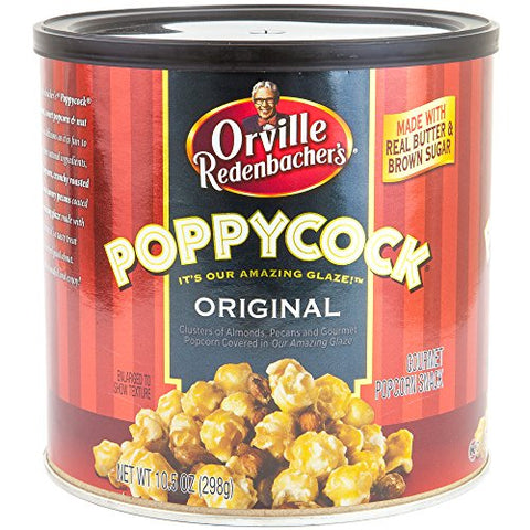 Orville Redenbachers Poppycock Gourmet Popcorn Snack 10.5 Oz Can | Original Clusters of Almonds, Pecans & Gourmet Popcorn | Made With Real Butter & Brown Sugar | Holiday Gift Set (Original)