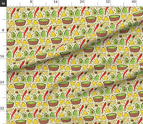 Spoonflower Fabric - Beans Kawaii Bean Avocado Taco Burritos Food Mexican Printed on Sport Lycra Fabric by The Yard - Swimwear Performance Leggings Apparel Fashion