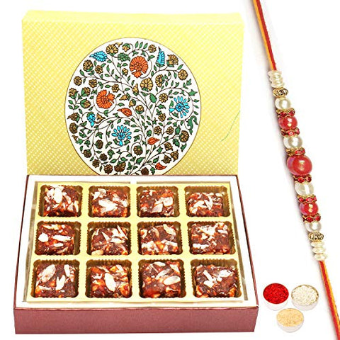 Ghasitaram Gifts Rakhi Gifts for Brother 2 Part 12 Pcs Sugarfree Dates and Figs Bites Box with Red Pearl Rakhi