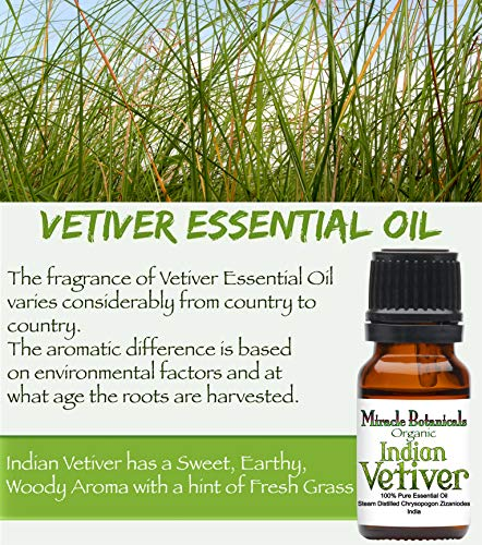 Miracle Botanicals Organic Indian Vetiver Essential Oil - 100% Pure Chrysopogon Zizanioides - 10ml or 30ml Sizes - Therapeutic Grade - 30ml/1oz.