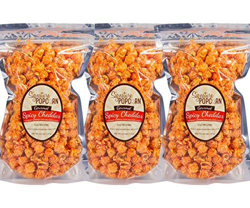 Signature Popcorn - Gourmet Hot Spicy Cheddar Cheese - Large 3-Pack Resealable Bags - Perfect Snack
