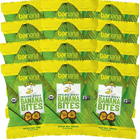 Organic Original Chewy Banana Bites - 1.4 Ounce (12 Count) - Delicious Barnana Potassium Rich Banana Snacks - Lunch Dinner Sports Hiking Natural Snack - Whole 30, Paleo, Vegan