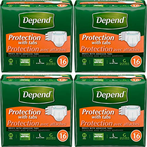 Depend Protection with Tabs Maximum Briefs, Large,16 count ( Pack of 4)