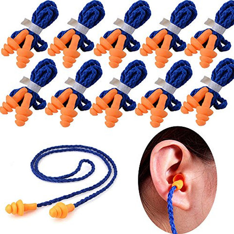100 pairs Individually Wrapped Non Toxic Soft Silicone Corded Ear Plugs Reusable Hearing Protection Earplugs For Sleeping, Concerts, Music, Shooting, Construction Work, Motor Sports Racing