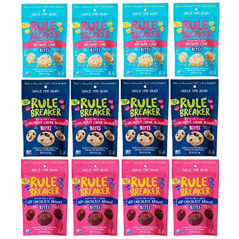 Rule Breaker Snacks, Flavor-Full Bites Sampler with Birthday Cake, Blondie and Brownie Bites, Vegan, Gluten Free, Nut Free, Allergy Friendly, Kosher (12 pouches)