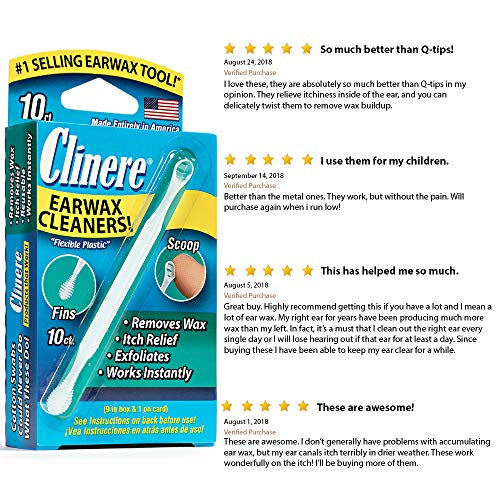 Clinereâ® Ear Cleaners, 10 Count, (Pack Of 3) Earwax Remover Tool Safely And Gently Cleaning Ear Can
