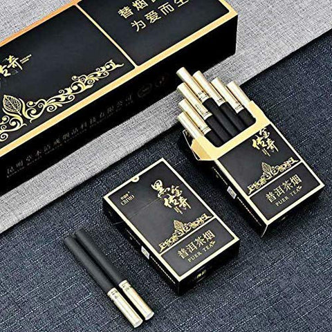 Green Tea Herbal Cigarettes Peony Tea Smoke, Chinese Herbal Cigarettes Smoke-Free and Nicotine-Free, Cigarette Substitutes (Legend of Black (Rich and Fragrant Taste),5 Packs)
