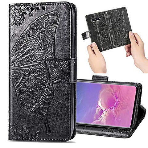 EnjoyCase Leather Case for Galaxy Note 10 Plus,Retro Butterfly Flower Soft Inner Magnetic Bookstyle Wrist Strap Wallet Flip Case Cover with Stand for Samsung Galaxy Note 10 Plus,Black