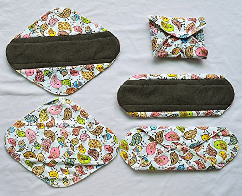 5 Pieces Charcoal Bamboo Mama Cloth/ Menstrual Pads/ Reusable Sanitary Pads (Heavy (12 inch), Birds)