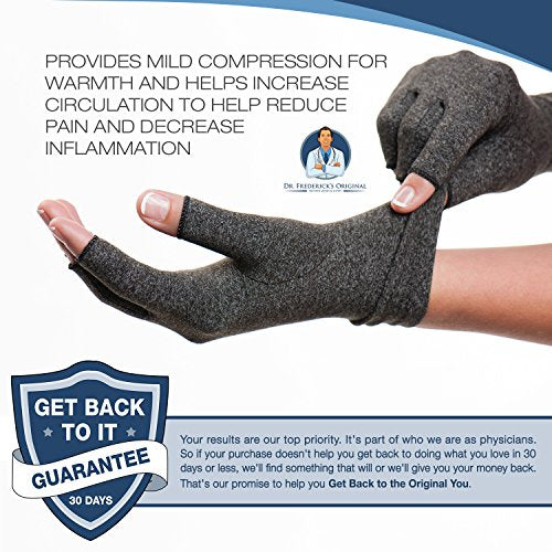 Dr. Frederick's Original Arthritis Gloves for Women & Men - Compression for Arthritis Pain Relief - Rheumatoid & Osteoarthritis - Men & Women - Medium