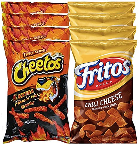 Cheetos Crunchy Xxtra Flaminâ?? Hot & Fritos Chili Cheese Corn Chips Snack Care Package For College,