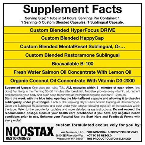 NooStax NZT-48-20 Doses/4 Weeks+Restoramones Prehormones - Powerful Nootropic Brain-Boosting Capsule Stacks - All The Nutrition You Need+The World's Most Powerful Nootropic Stacks in Capsule Form
