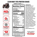 Image of Lean Body Ready To Drink Cookies & Cream Protein Shake With Whey. Convenient On The Go Meal Replacem