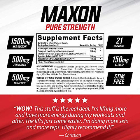 iSatori Maxon Pre Workout Stimulant Free - Fenugreek and Kre Alkalyn Creatine Pure Strength Muscle Gainer Lasting Energy for Men Keto Friendly - Dietary Supplement (84 Rapid Release Caplets)