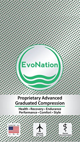 EvoNation Women's USA Made Travel Graduated Compression Socks 8-15 mmHg Mild Pressure Medical Quality Ladies Knee High Support Stockings Hose - Best Comfort Fit, Circulation (Small, Black)