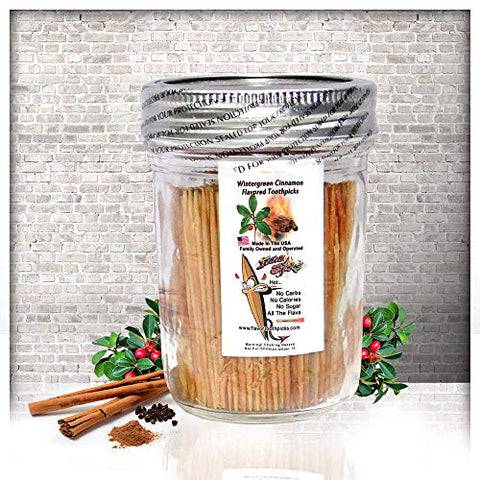 600 Wintergreen Cinnamon Flavor Natural Wooden Toothpicks in Glass Jar with Lid