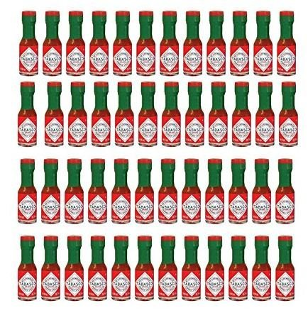 Tabasco Original Pepper Sauce Mini Bottles 1/8 Ounce Pack of 48 Little Real Glassbottles