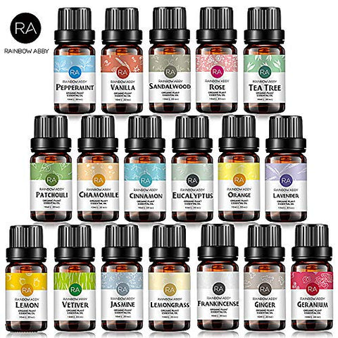 Top 18 Essential Oil Set(Sandalwood,Jasmine,Rose,Chamomile,Peppermint,Vanilla,Tea Tree,Patchouli,Cinnamon,Eucalyptus,Orange,Lavender,Lemon,Vetiver,Lemongrass,Frankincense,Ginger,Geranium)