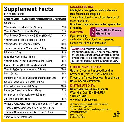 Nature Made Prenatal Multivitamin + Dha Softgel With Folic Acid, Iodine And Zinc, 90 Count (Packagin