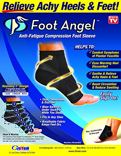 Foot Angel FALW-MC24/6 Anti-Fatigue Compression Foot Sleeve for Plantar Fasciitis Relief, Large/X-Large, Black, L-XL