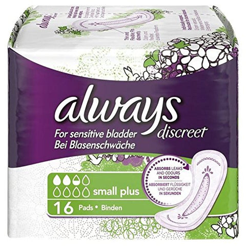 Always Discreet Sensitive Bladder Small Plus Pads 16 per pack (PACK OF 2)