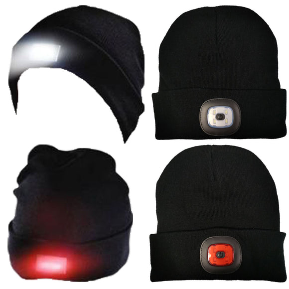 Knitted Turn Up Front and Back LED Light Beanie [184MA000448Black]