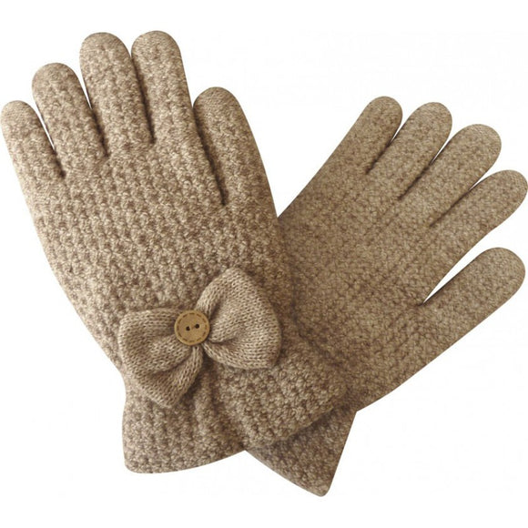 """UNISIZE BOW"" BEIGE GLOVES [037930087005]"