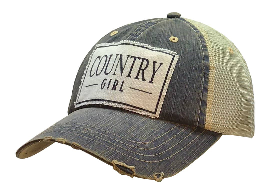 Country Girl Distressed Trucker Hat Baseball Cap