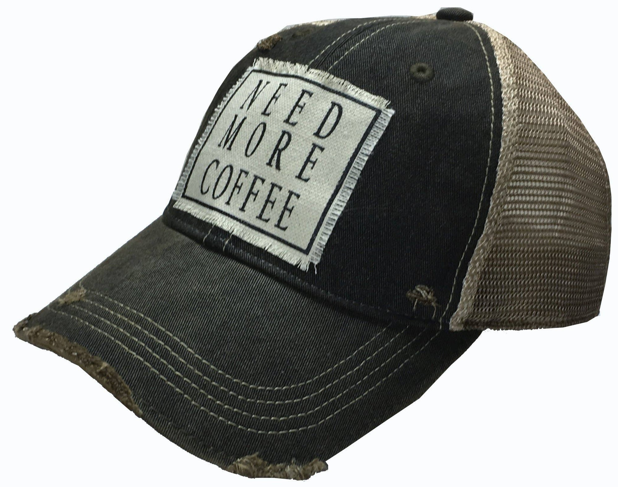 Need More Coffee Distressed Trucker Cap