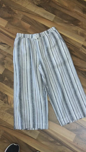 Capri Pants Elastic Waist With Rope Tie, Pockets
