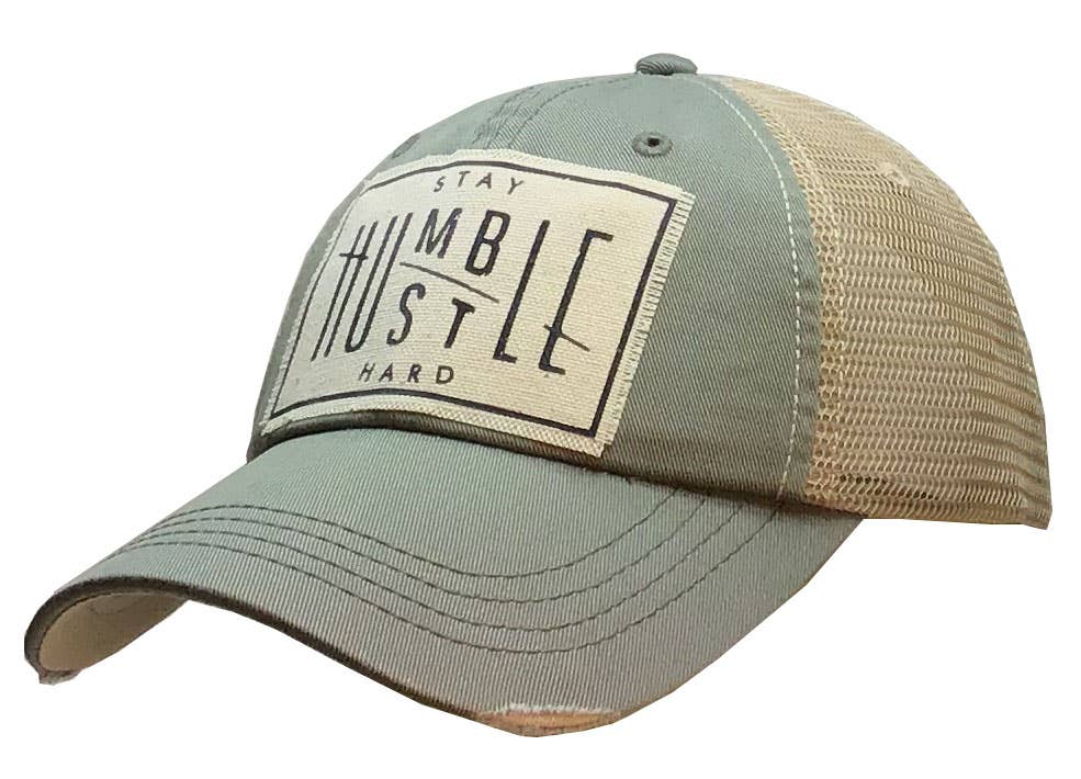 Stay Humble Hustle Hard Distressed Trucker Cap