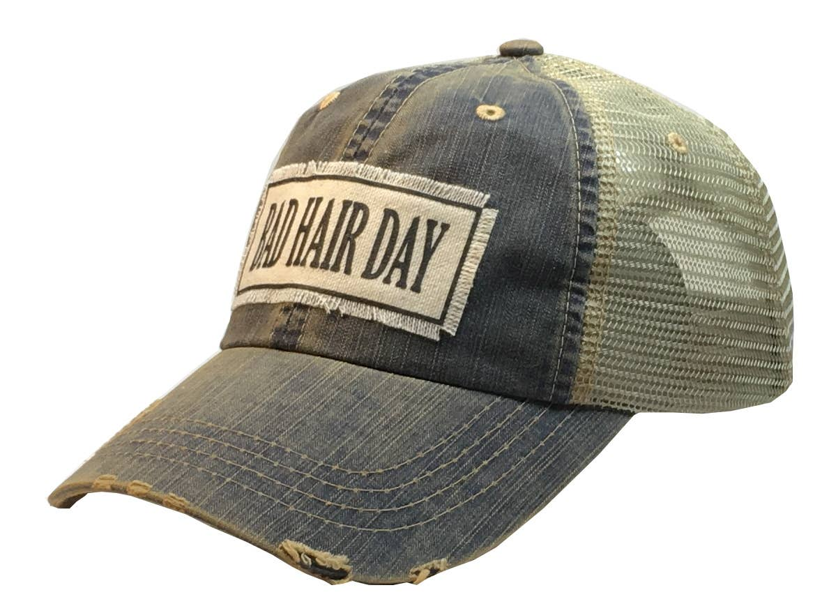 Bad Hair Day Distressed Trucker Hat Baseball Cap