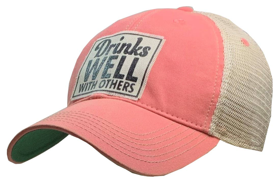 Drinks Well With Others Distressed Trucker Hat Baseball Cap