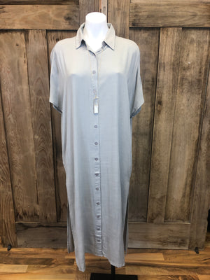 Dress Long, Button Front, Collar, Short Sleeve